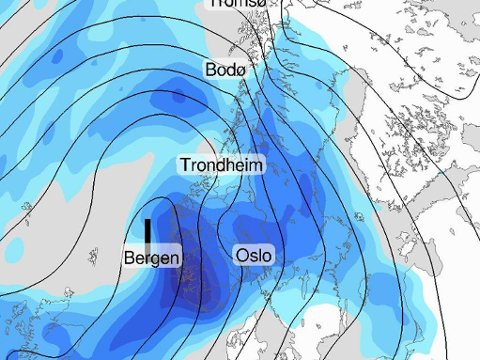 SNØ: Fra tirsdag kveld trekker et lavtrykk mot Norge, som gir mye snø og vind over hele Sør-Norge.