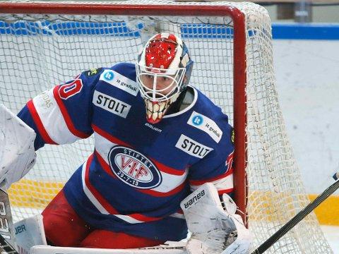 PRAKTKAMP: VIF og keeper Steffen Søberg klarte brasene og slo rivalen Stavanger Oilers for tredje gang denne sesongen.Bildet er fra en tidligere kamp.