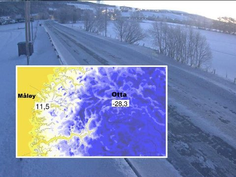 KALDT OG VARMT: Onsdag morgen var det 39,8 grader i temperaturforskjell mellom høyeste og lavestse temperatur i Norge. Bildet er hentet fra webkamera på på fylkesvei 30 ved Mosenget i Gausdal i Oppland onsdag morgen. På Fagernes var det onsdag morgen 22 minusgrader.