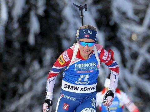 NED FRA SEIERSPALLEN: Tiril Eckhoff klarte ikke å følge opp innsatsen fra sprinten tidligere i uka.