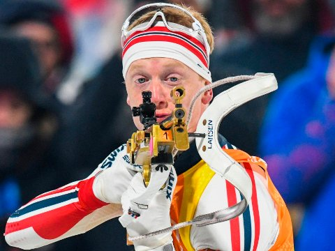 BOMETTER BOM: Johannes Thingnes Bø fikk det ikke til i søndagens renn i Kontiolahti, i likhet med alle de øvrige nordmennene. Bildet er fra tidligere i sesongen.