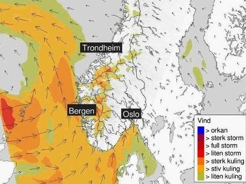 ADVARER: Meteorologisk institutt går torsdag ut med advarsler om lavtrykket som kommer inn over Norge på ettermiddagen og kvelden.