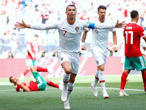 HISTORISK NETTSUS: Cristiano Ronaldos tidlige scoring mot Marokko gjorde ham til tidenes mestscorende landslagsspiller fra Europa.