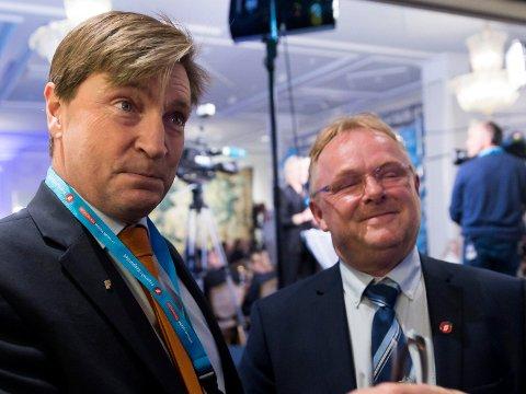 Christian Tybring-Gjedde og Per Sandberg avbildet sammen på Fremskrittspartiets valgvake i Speilsalen på Grand Hotel i Oslo høsten 2017.