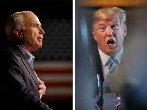 FIENDER: Senator John McCain (til venstre) og USAs president Donald Trump, begge republikanere, var politiske rivaler.