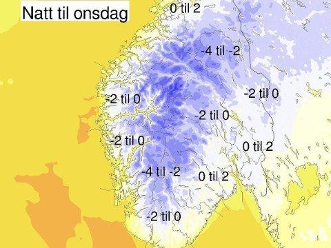 Slik ser temperaturprognosene ut natt til onsdag for Sør-Norge.