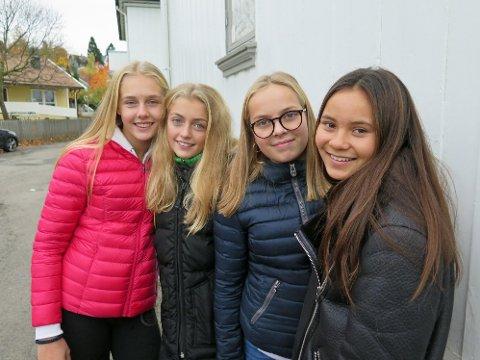 BLOGGLESERE: Sine Madsen (t.v), Aslaug Løken Stavrum, Mille Aslaksen Wale og Adele Christine Kavli bruker opptil to timer daglig på blogg og sosiale medier. De mener media overdriver når de skriver om at bloggerne er dårlige forbilder for unge jenter.