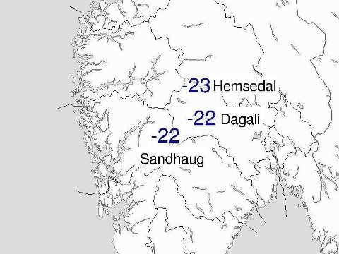 Tre steder kunne skilte med temperaturer under 20 minus på morgenoversikten for Sør-Norge fra Meteorologisk institutt tirsdag.