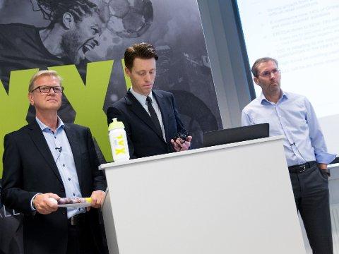 TRE KONSERNSJEFER: På ett brett: Til venstre: Tidligere konsernsjef Fredrik Steenbuch, påtroppende konsernsjef Tolle Grøterud og avtroppende konsernsjef Ulf Bjerknes i anledning Steenbuchs avgang i oktober.