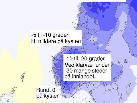 Etter mildværet i Sør-Norge onsdag, venter meteorologene kalde nordavinder innover landet. Til helga blir det kaldt.