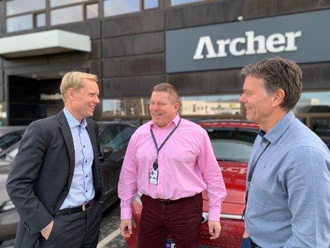 Finansdirektør Dag Skindlo, administrerende direktør John Lechner og personaldirektør Knut Dolmen i Archer. Trioen tror på høyere aktivitet i 2019 enn i 2018.