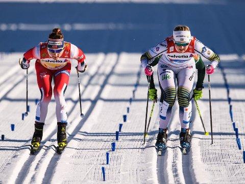 AVANSEMENT: Maiken Caspersen Falla og Norge gikk inn til andreplass bak Sverige og Maja Dahlqvist under semifinalen i lagsprint.