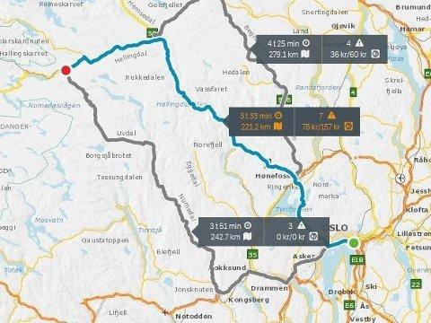 Det ventes stor utfartstrafikk til fjellet fredag, blant annet fra Oslo til Geilo. Her ser du alternative ruter.
