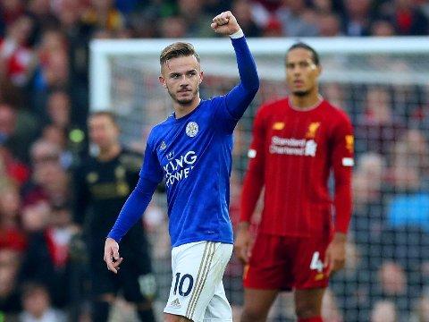 BRA BYGGEMATERIALE: Leicester-profilen James Maddison. Her feirer han scoring mot Liverpool på Anfield tidligre i høst.