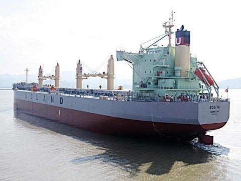 Arkivbilde av det norske skipet Bonita, som er eid av Ugland-rederiet og ble kapret utenfor Benin i Vest-Afrika. Foto: Rederiet Ugland / NTB scanpix