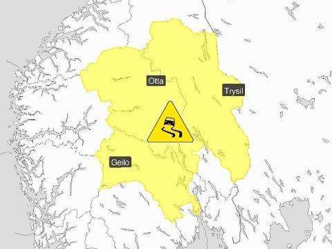 FAREVARSEL: Meteorologene har sendt ut gult farevarsel for underkjølt regn i deler av Buskerud, Oppland og Hedmark torsdag.