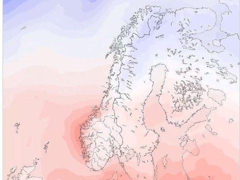 VARM LUFT: Meteorologisk institutt meldte tidligere i uken om varme luftmasser som ville komme inn over Sør-Norge torsdag og fredag.