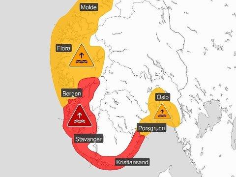 EKSTREMVÆR: I tillegg til at det er ute gult og orange farevarsel på høy og svært høy vannstand, er det nå sendt ut varsel om ekstremt høy vannstand (rødt nivå) for Agder, Rogaland, Sunnhordland og Hardanger.