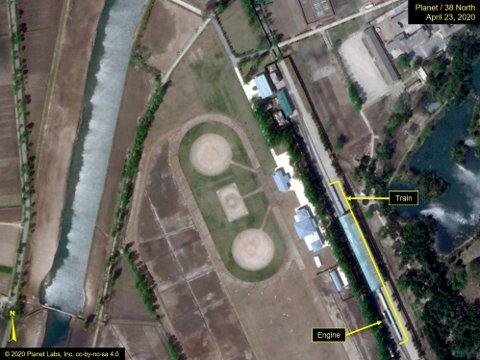 RYKTER: 38 North, som er en del av tankesmia Stimson Center i Washington, har offentliggjort blant annet dette satellittbildet fra Planet Labs datert 23. april. Det er en av de siste bitene i ryktet om Kims skrantende helse.