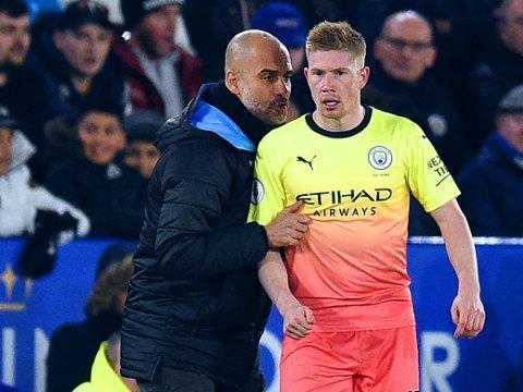 REELL BEKYMRING? Manager Pep Guardiola klarer kanskje ikke å holde igjen Kevin De Bruyne i Manchester City i to hele sesonger uten Champions League-fotball.