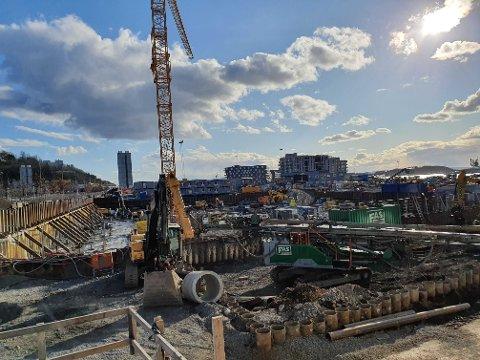 NYBYGG: Prosjektet Clemenskvartalet ligger mellom Sørenga og Eufemias plass Syd i Oslo, og ble trukket av markedet på grunn av koronakrisen. Bildet er fra 28. mars i år.