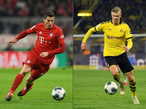 Spissduellen mellom Bayern-stjernen Robert Lewandowski (t.v.) og Dortmunds tenåringsfenomen Erling Braut Haaland (t.h.) kan avgjøre gullkampen i Tyskland tirsdag.