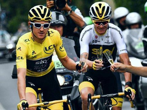 BOMBE: Verken Geraint Thomas (gul trøye) eller Chris Froome fra Team Ineos, her fra 2018 da laget het Team Sky, er med i årets Tour de France-mannskap. Det får Thor Hushovd til å reagere.