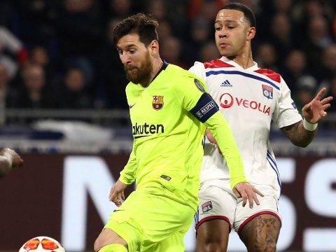 ÉN UT, ÉN INN? Memphis Depay (til høyre) og Lionel Messi er blant stjernene som kan være på vei henholdsvis inn og ut fra Barcelona. Sistnevnte kobles stadig til en viss Premier League-klubb.
