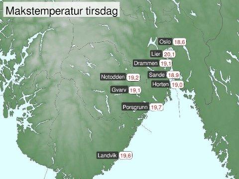 HØYESTE TEMPERATUR: Målestasjonen i Lier var den eneste som nådde 20 grader tirsdag.