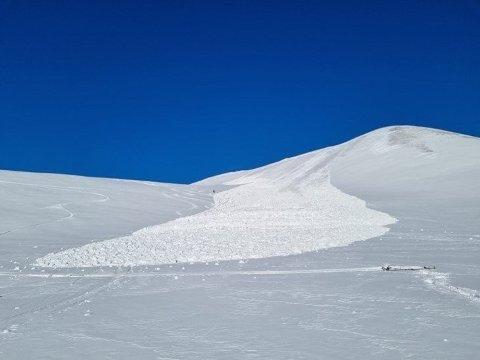 Et snøskred i Ottofjellet ble meldt til Sysselmannen tirsdag. Ingen ble tatt av skredet, som gikk halvannen mil nordøst for Longyearbyen. Foto: Sysselmannen / NTB