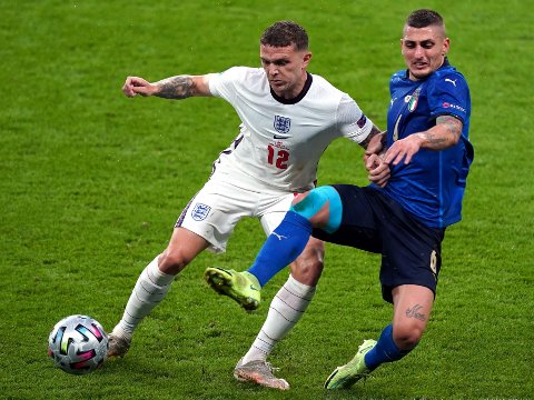 England's Kieran Trippier and Italy's Marco Verratti (right) battle for the ball during the UEFA Euro 2020 Final at Wembley Stadium, London. Picture date: Sunday July 11, 2021.