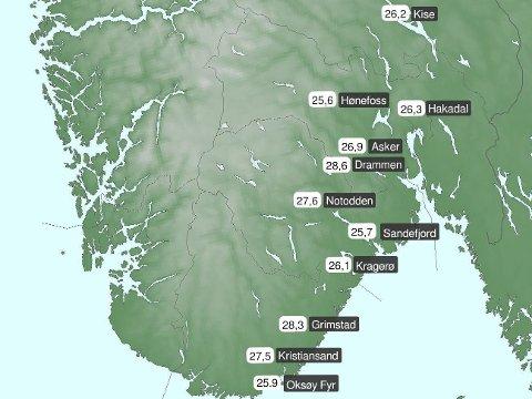 DRAMMEN PÅ TOPP: Varme luftmasser fra Sør-Europa sørger for høye temperaturer på Østlandet og Sørlandet.