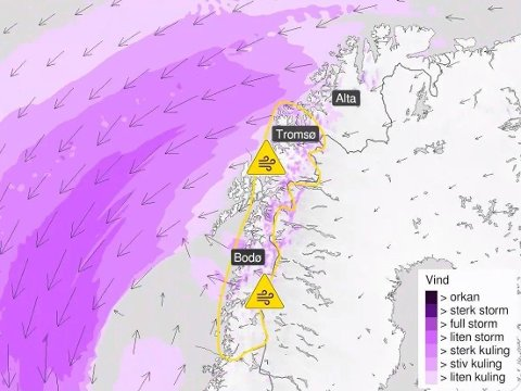 KRAFTIG VIND: Meteorologene har sendt ut gult farevarsel for vindkast for Troms og deler av Nordland. Det varsles om vindkast opp i 27-35 meter i sekundet. Lavtrykket treffer først Nordland, mens onsdag øker vinden også i Troms.
