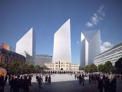 VRAKER DETTE: Arkitektene i Snøhetta la fram dette forslaget til nytt regjeringskvartal. Men en komité som har vurdert innspillene, går mot at det skal bygges høyhus.
