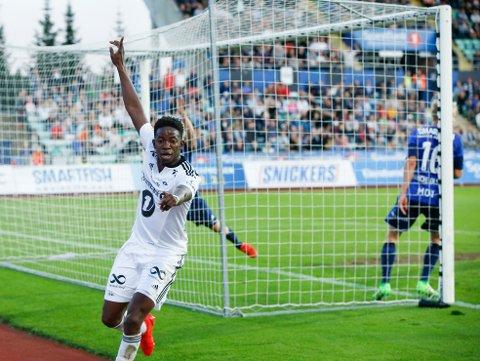 MATCHVINNER: Mushaga Bakenga scorer det viktige 1-0-målet For Rosenborg mot Stabæk.