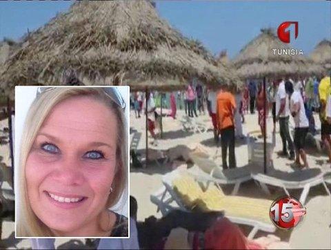 SLAPP MED SKREKKEN: Kristin Køhler Aaslund befant seg like i nærheten da hotellet i Sousse ble angrepet av terrorister. Det store bildet er hentet fra tunisisk TV og viser skadde som blir behandlet på stranda.