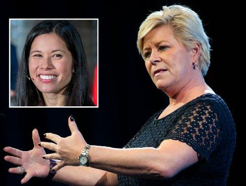 BOMPENGE-DRONNING: MDGs miljø- og samferdselsbyråd i Oslo, Lan Marie Berg (innfelt), blir kalt Bompenge-Lan av Siv Jensen - og nå svarer hun Jensen.