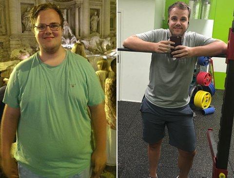 PER ARNE RAMBERG før og etter livsstilsendringen.