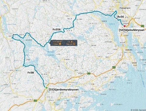 ALTERNATIVE RUTER: Vegtrafikksentralen ber folk som skal sørover på E18 vurdere alternative ruter.