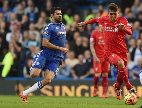 Diego Costa som Chelsea-spiller rett før frispark for Firmino