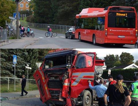 Lastebilen som krasjet tirsdag ettermiddag og det samme krysset som skolevei onsdag morgen.
