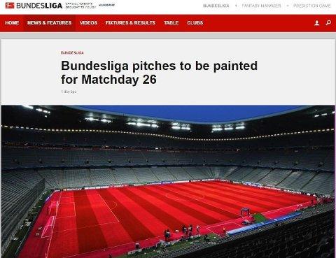 RØD STADION: Den tyske bundesligaen meldte at klubbene kunne farge gressmattene på arenaene i valgfrie farger på 1. april.