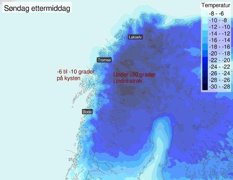 Slik ser temperaturprognosene for Nord-Norge ut søndag ettermiddag.