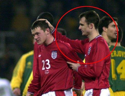 DEBUTERTE SAMMEN: Wayne Rooney og Francis Jeffers mot Australia i 2003.