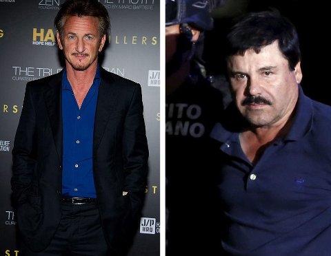 """Et intervju skuespiller Sean Penn (t.v.) gjorde med Joaqin """"El Chapo"""" (t.h.) for Rolling Stone fredag skal ha vært en medvirkende faktor til at narkobaronen ble tatt."""