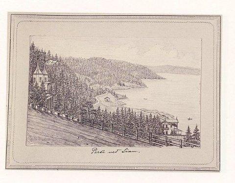 «Parti fra Ljan» tegnet i 1884 av Hroar Scheibler den eldre.