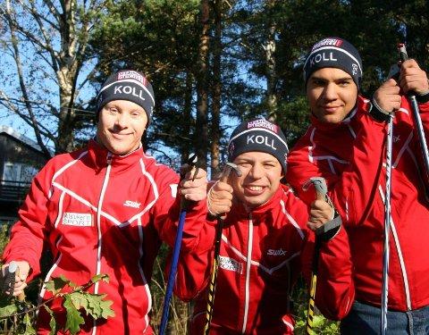 milslukerne: Fra venstre Øyvind Ulsrud (Korsvoll), Anders Vreim Ørbeck (Ullevål), og Torger Helle Schia (Brekke) er mer enn skiklare i Koll Langrenn. Maksim Andreassen (Kjelsås) og Holmar Tomasson (Ullevål) var ikke tilstede da avisen møtte gutta.
