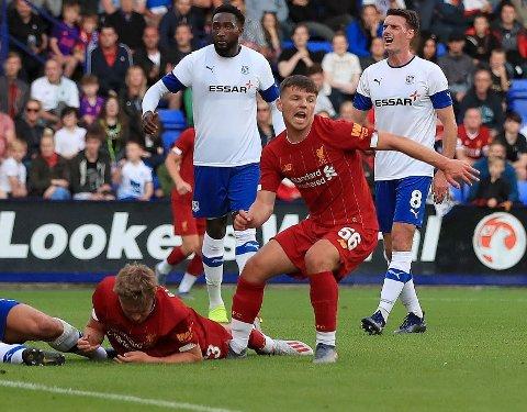 PÅ VEI BORT: Bobby Duncan, her i aksjon for Liverpool mot Tranmere.