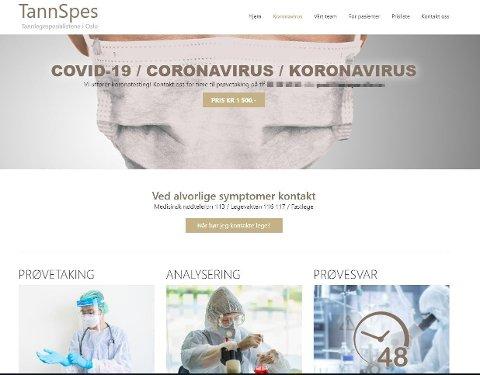 SELGER TEST: Tannlegeklinikken TannSpes i Oslo tilbyr koronatest på sine nettsider, men laboratoriet de bruker er svært kritiske.