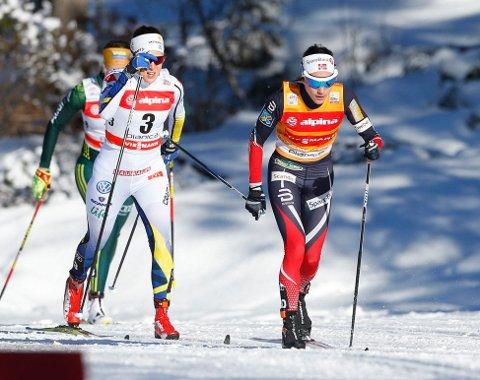 SLÅTTAVNABOLANDENE: Heidi Weng og de andre norske løperne måtte se seg slått av to andre nordiske nasjoner i Planica søndag.